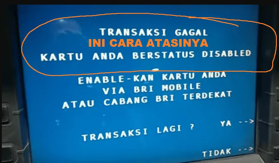 Kartu ATM BRI Disable